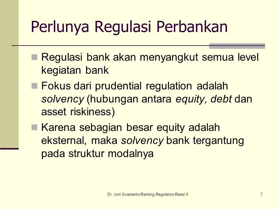 7 Perlunya Regulasi Perbankan Regulasi bank akan menyangkut semua level kegiatan bank Fokus dari prudential regulation adalah solvency (hubungan antar