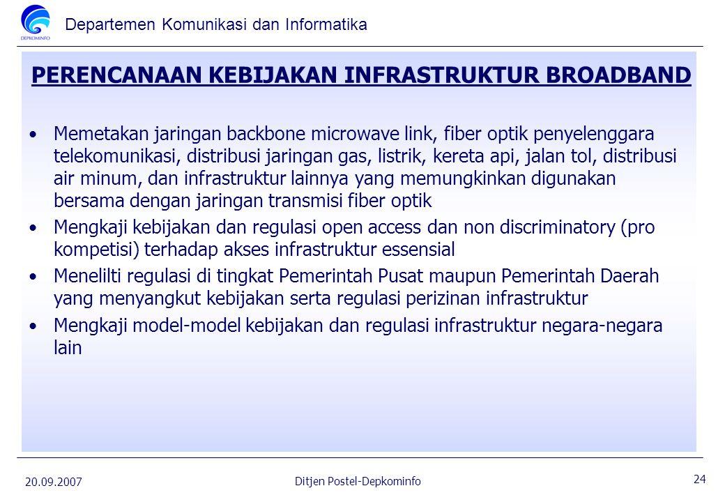 Departemen Komunikasi dan Informatika 20.09.2007 24 Ditjen Postel-Depkominfo PERENCANAAN KEBIJAKAN INFRASTRUKTUR BROADBAND Memetakan jaringan backbone