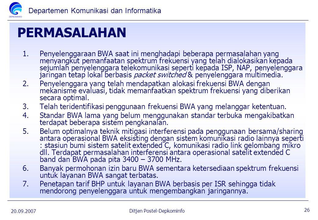 Departemen Komunikasi dan Informatika 20.09.2007 26 Ditjen Postel-Depkominfo PERMASALAHAN 1.Penyelenggaraan BWA saat ini menghadapi beberapa permasala