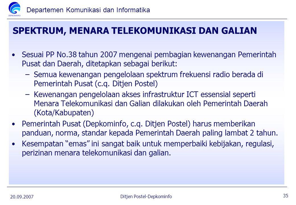 Departemen Komunikasi dan Informatika 20.09.2007 35 Ditjen Postel-Depkominfo SPEKTRUM, MENARA TELEKOMUNIKASI DAN GALIAN Sesuai PP No.38 tahun 2007 men