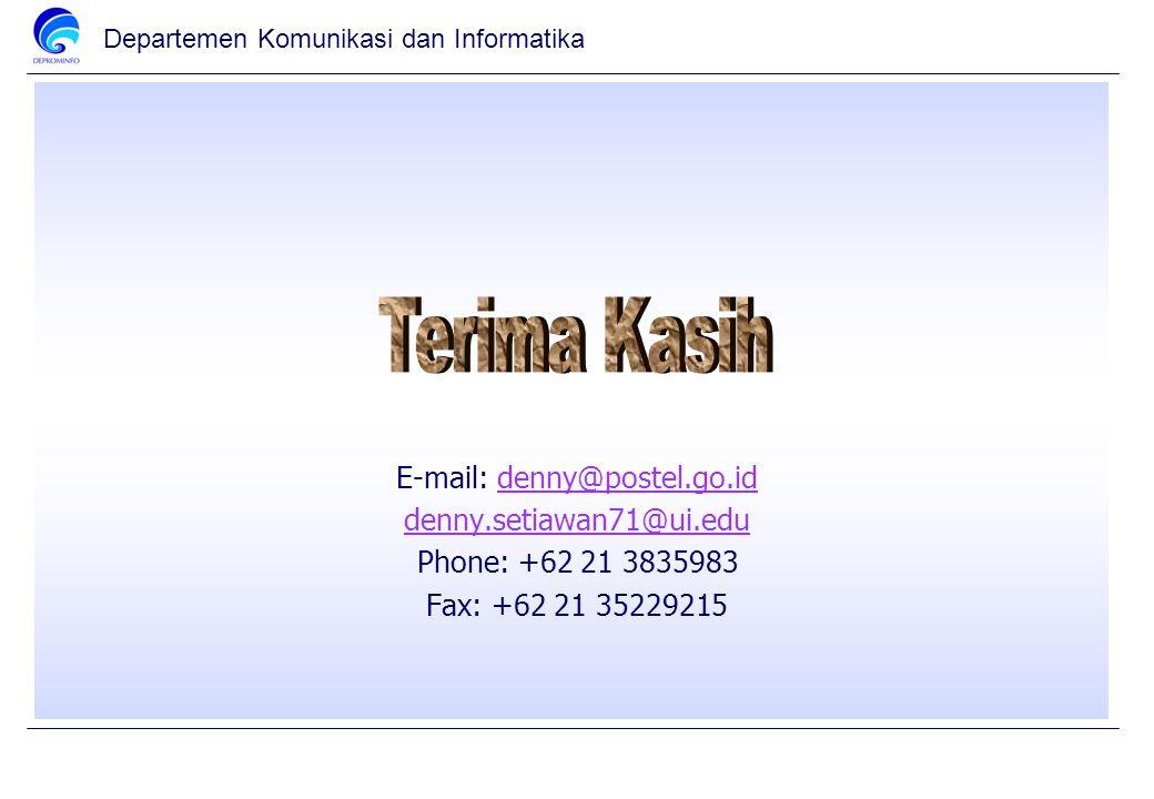 Departemen Komunikasi dan Informatika E-mail: denny@postel.go.iddenny@postel.go.id denny.setiawan71@ui.edu Phone: +62 21 3835983 Fax: +62 21 35229215
