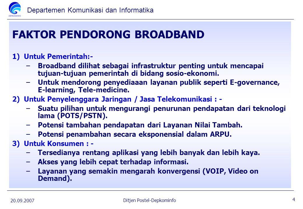 Departemen Komunikasi dan Informatika 20.09.2007 15 Ditjen Postel-Depkominfo STATISTIK ICT INDONESIA (Th.2006) 1.Jumlah penduduk : 230 juta 2.GDP per kapita: US$ 1,500 a)Fixed telephone : b)Fixed Wireline (8.8 juta) c)FWA (6.5 juta) ; 3.Teledensity: 7% ( 15.3 juta) a)Kota-kota besar utama : 10 – 40% b)Daerah Rural / pedesaan kurang dari 0.2% ( 60% dari desa tanpa telepon sama sekali) 4.Densitas pengguna telepon bergerak : 31.1% ( 68.42 juta) 5.Densitas Fixed and Mobile : 38.2% 6.Internet: a)2 juta pelanggan b)Kurang lebih.