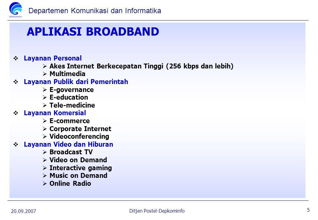 Departemen Komunikasi dan Informatika 20.09.2007 5 Ditjen Postel-Depkominfo APLIKASI BROADBAND  Layanan Personal  Akes Internet Berkecepatan Tinggi