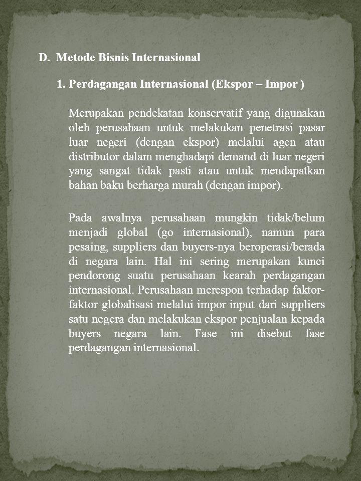 D. Metode Bisnis Internasional 1. Perdagangan Internasional (Ekspor – Impor ) Merupakan pendekatan konservatif yang digunakan oleh perusahaan untuk me