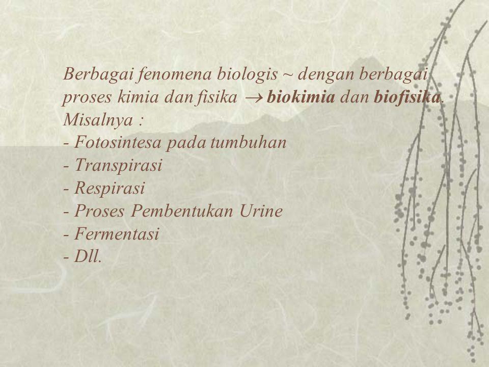 Berbagai fenomena biologis ~ dengan berbagai proses kimia dan fisika  biokimia dan biofisika.