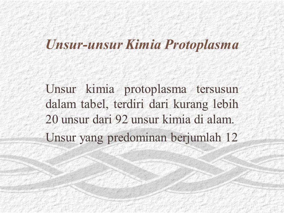 Unsur-unsur Kimia Protoplasma Unsur kimia protoplasma tersusun dalam tabel, terdiri dari kurang lebih 20 unsur dari 92 unsur kimia di alam.