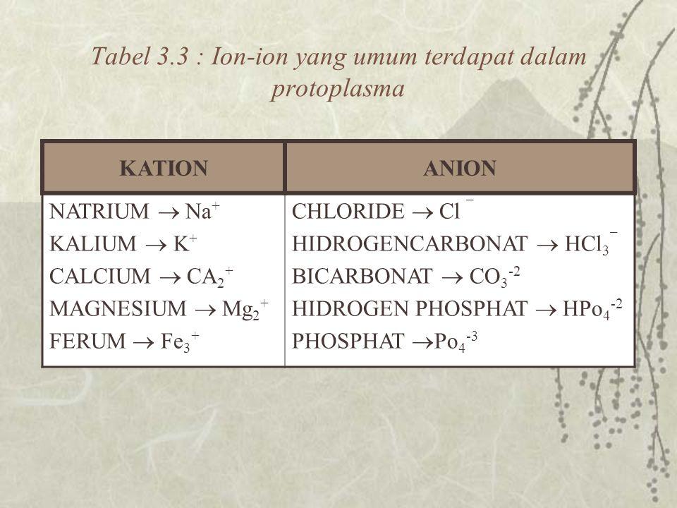 Tabel 3.3 : Ion-ion yang umum terdapat dalam protoplasma KATIONANION NATRIUM  Na + KALIUM  K + CALCIUM  CA 2 + MAGNESIUM  Mg 2 + FERUM  Fe 3 + CHLORIDE  Cl ¯ HIDROGENCARBONAT  HCl 3 ¯ BICARBONAT  CO 3 -2 HIDROGEN PHOSPHAT  HPo 4 -2 PHOSPHAT  Po 4 -3