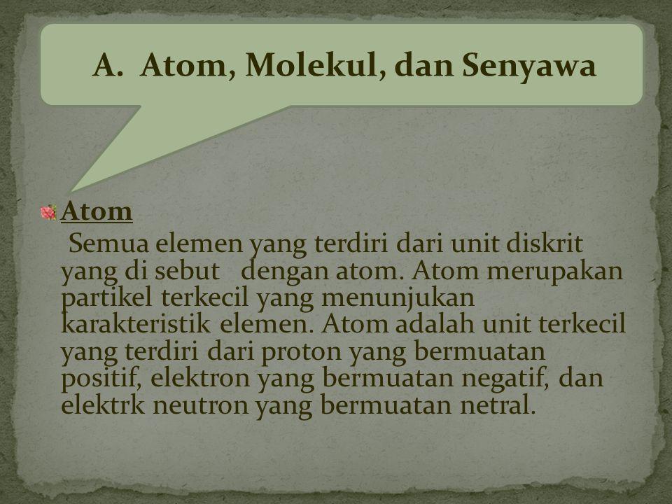 Atom Semua elemen yang terdiri dari unit diskrit yang di sebut dengan atom.