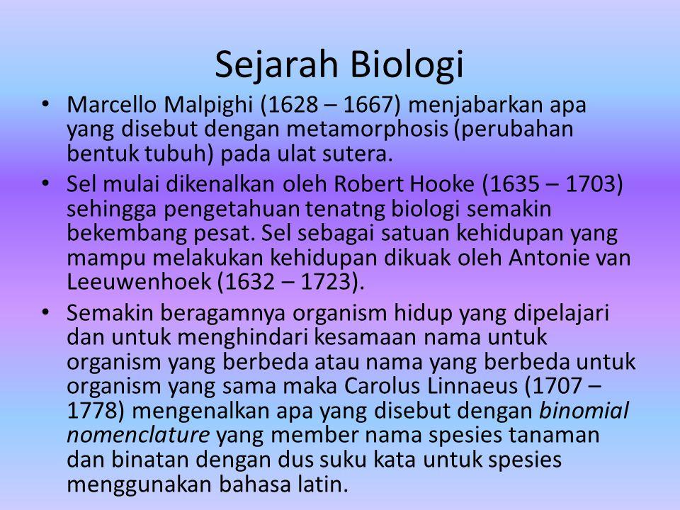 Sejarah Biologi Marcello Malpighi (1628 – 1667) menjabarkan apa yang disebut dengan metamorphosis (perubahan bentuk tubuh) pada ulat sutera.