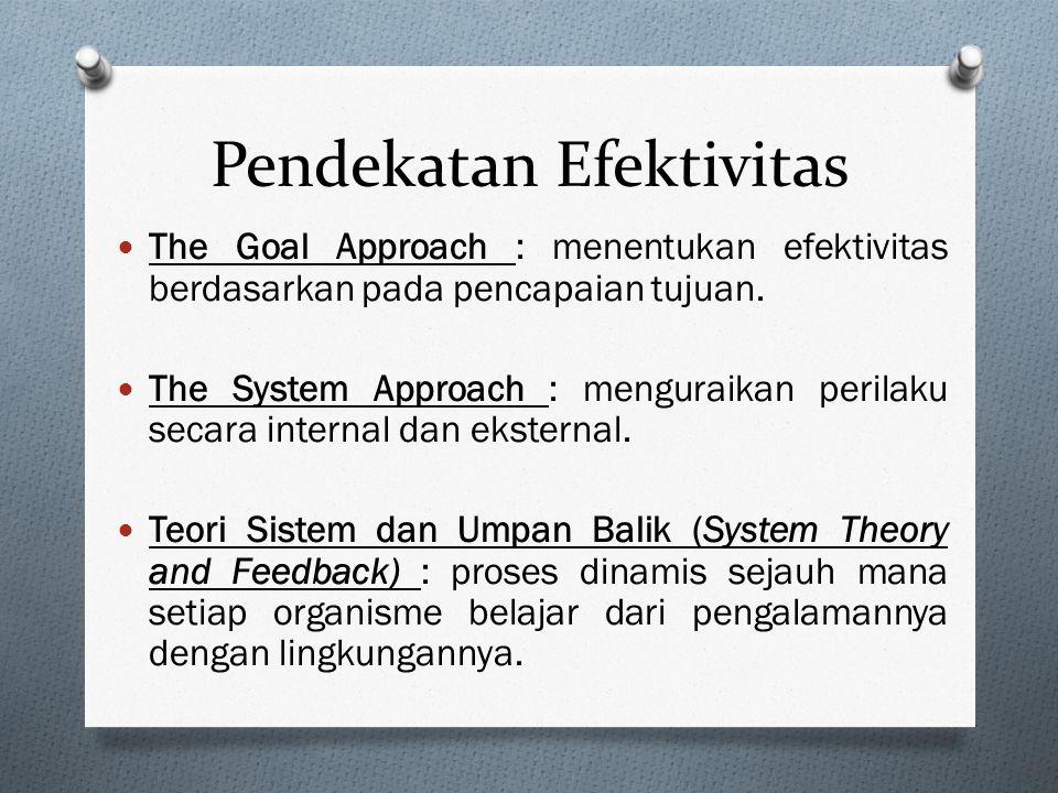 Pendekatan Efektivitas The Goal Approach : menentukan efektivitas berdasarkan pada pencapaian tujuan.