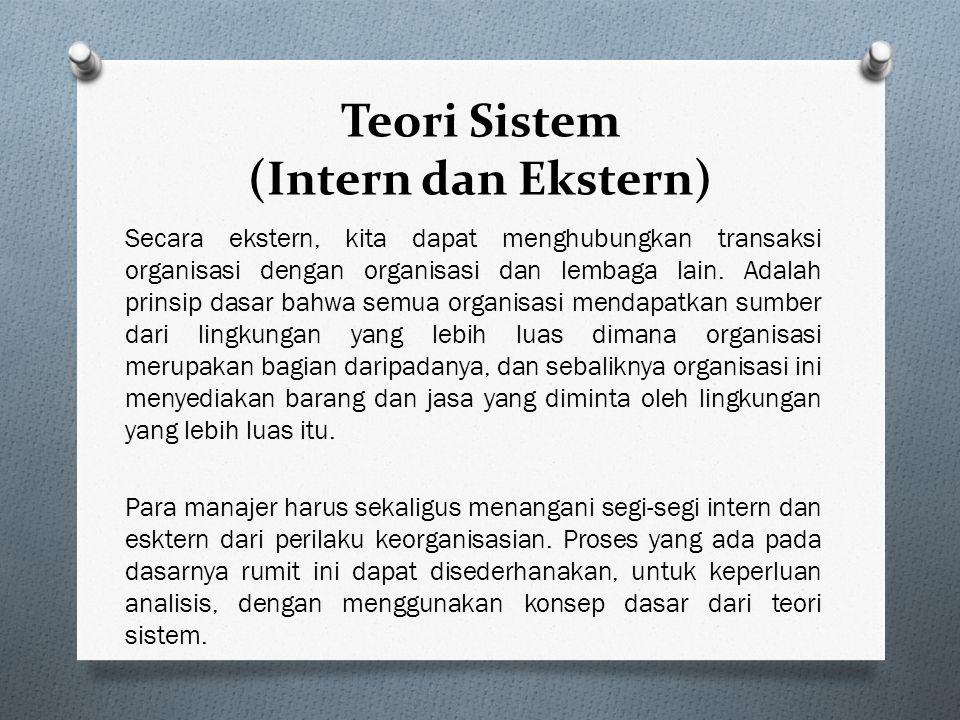Teori Sistem (Intern dan Ekstern) Secara intern kita dapat melihat bagaimana dan mengapa orang di dalam organisasi melaksanakan tugasnya secara individu dan secara kolektif.