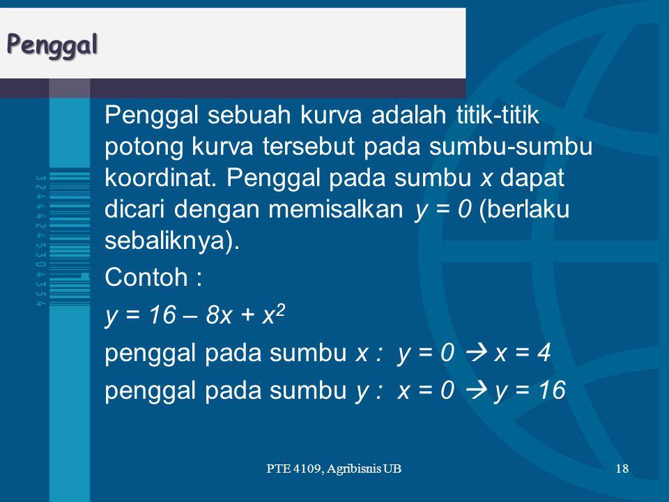 Penggal  Penggal sebuah kurva adalah titik-titik potong kurva tersebut pada sumbu-sumbu koordinat. Penggal pada sumbu x dapat dicari dengan memisalka