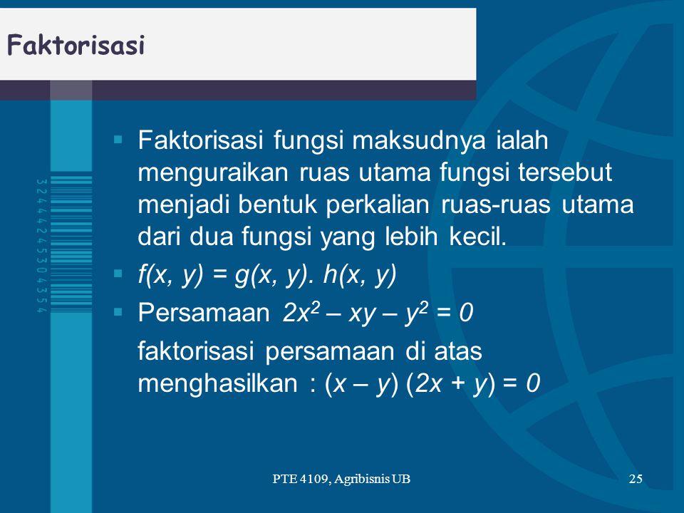 Faktorisasi  Faktorisasi fungsi maksudnya ialah menguraikan ruas utama fungsi tersebut menjadi bentuk perkalian ruas-ruas utama dari dua fungsi yang