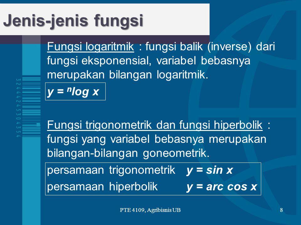  Fungsi logaritmik : fungsi balik (inverse) dari fungsi eksponensial, variabel bebasnya merupakan bilangan logaritmik. y = n log x  Fungsi trigonome