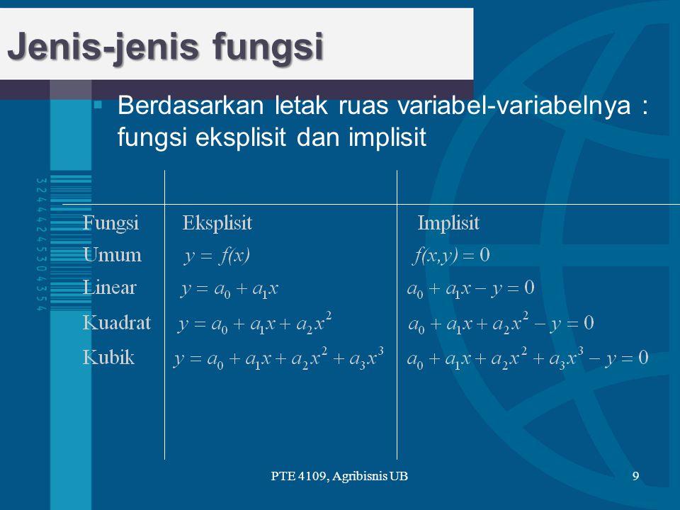 x y x y Linear y = a 0 + a 1 x a0a0 Kemiringan = a 1 (a) (b) 00 Kuadratik y = a 0 + a 1 x + a 2 x 2 a0a0 (Kasus a 2 < 0) PTE 4109, Agribisnis UB10 Jenis-jenis fungsi
