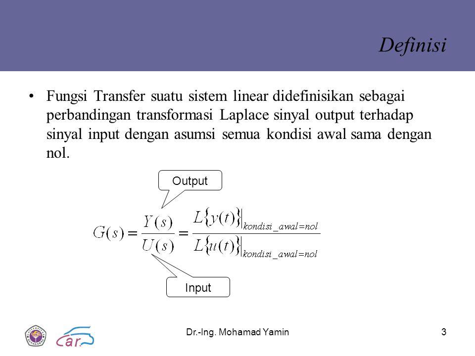 Dr.-Ing. Mohamad Yamin3 Definisi Fungsi Transfer suatu sistem linear didefinisikan sebagai perbandingan transformasi Laplace sinyal output terhadap si