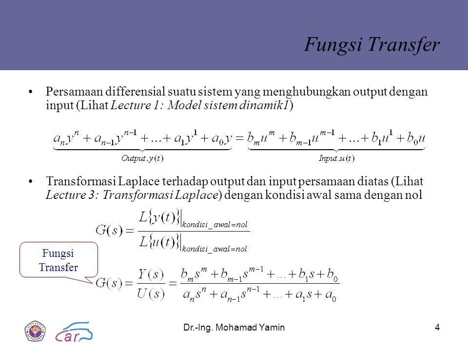 Dr.-Ing. Mohamad Yamin4 Fungsi Transfer Persamaan differensial suatu sistem yang menghubungkan output dengan input (Lihat Lecture 1: Model sistem dina