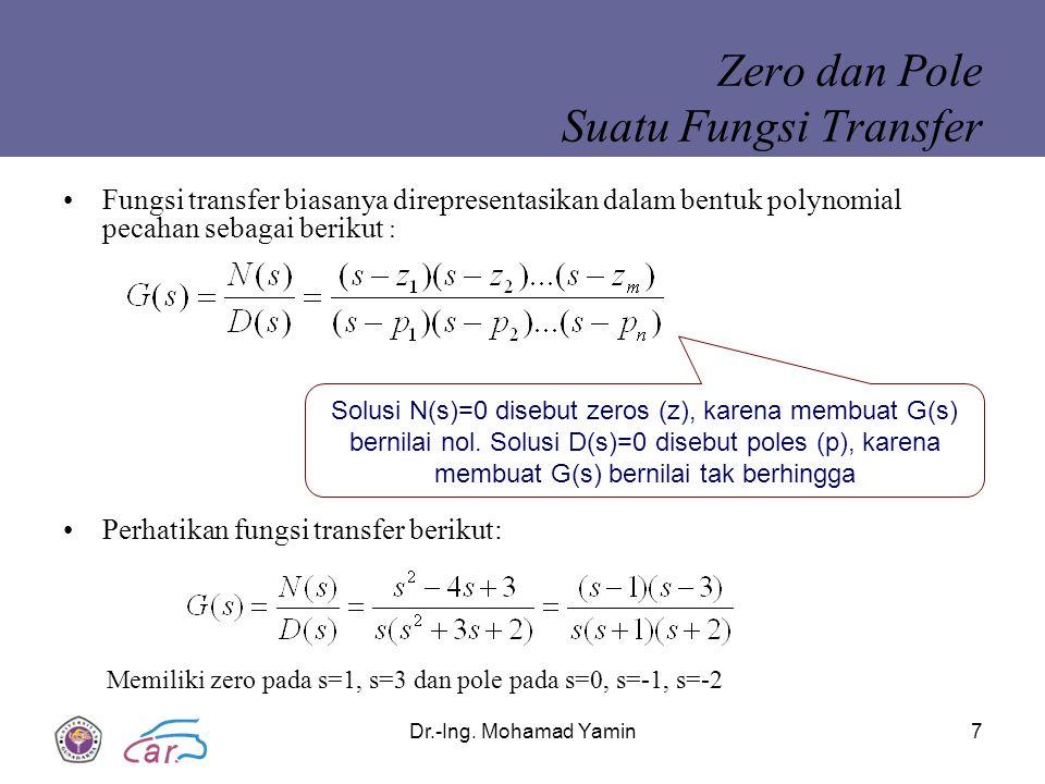 Dr.-Ing. Mohamad Yamin7 Zero dan Pole Suatu Fungsi Transfer Fungsi transfer biasanya direpresentasikan dalam bentuk polynomial pecahan sebagai berikut