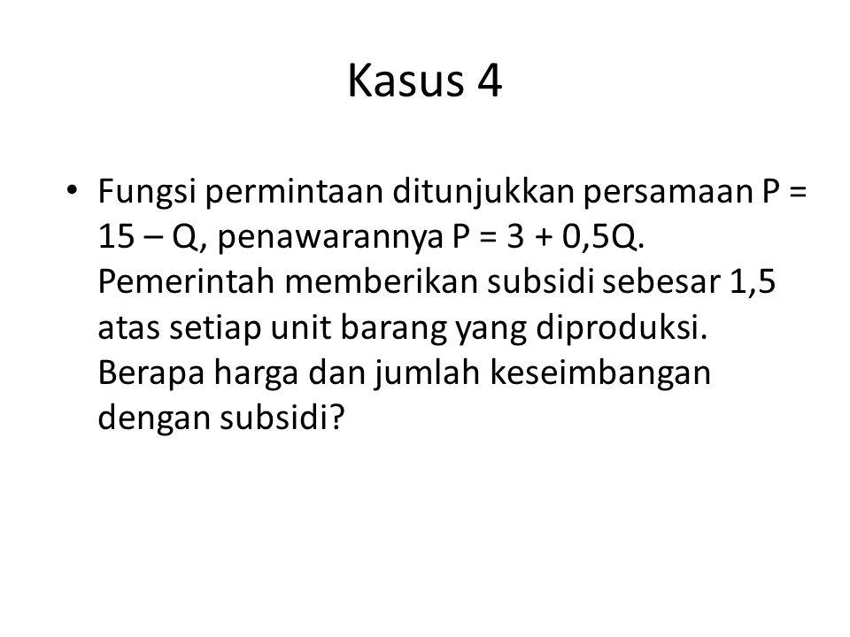 Kasus 4 Fungsi permintaan ditunjukkan persamaan P = 15 – Q, penawarannya P = 3 + 0,5Q. Pemerintah memberikan subsidi sebesar 1,5 atas setiap unit bara