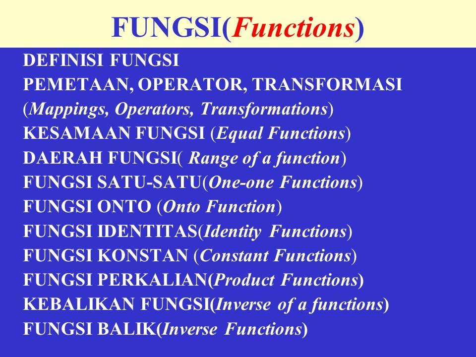 DEFINISI FUNGSI  Fungsi f: A  B( Fungsi dari A ke B)  Setiap elemen dari himpuman A dihubungkan dengan satu elemen B yang unik  Bila a  A, maka elemen dari himpunan B yang dihubungkan dengannya disebut bayangan dari a (image of a) ditulis f(a)  Himpunan A disebut domain dari f  Himpunan B disebut co-domain dari f