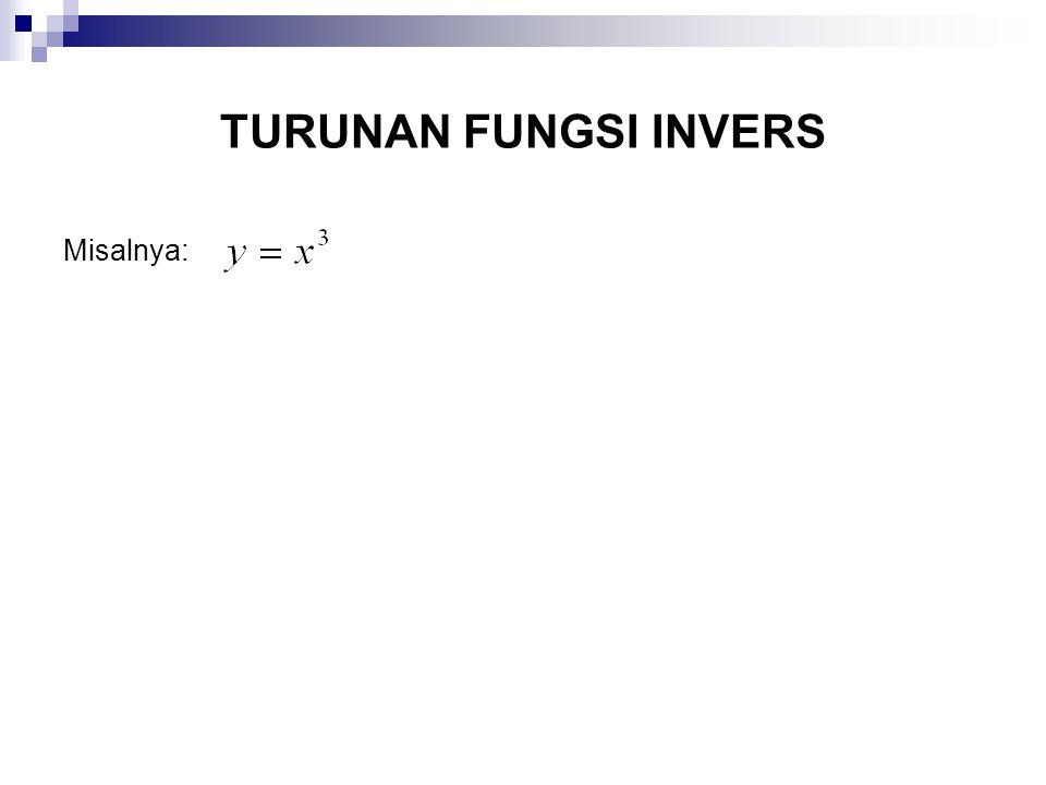 TURUNAN FUNGSI INVERS Misalnya: