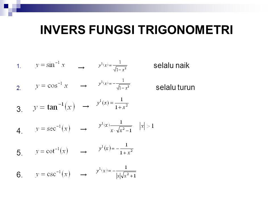 INVERS FUNGSI TRIGONOMETRI 1. selalu naik 2. selalu turun 3. 4. 5. 6. → → → → → →