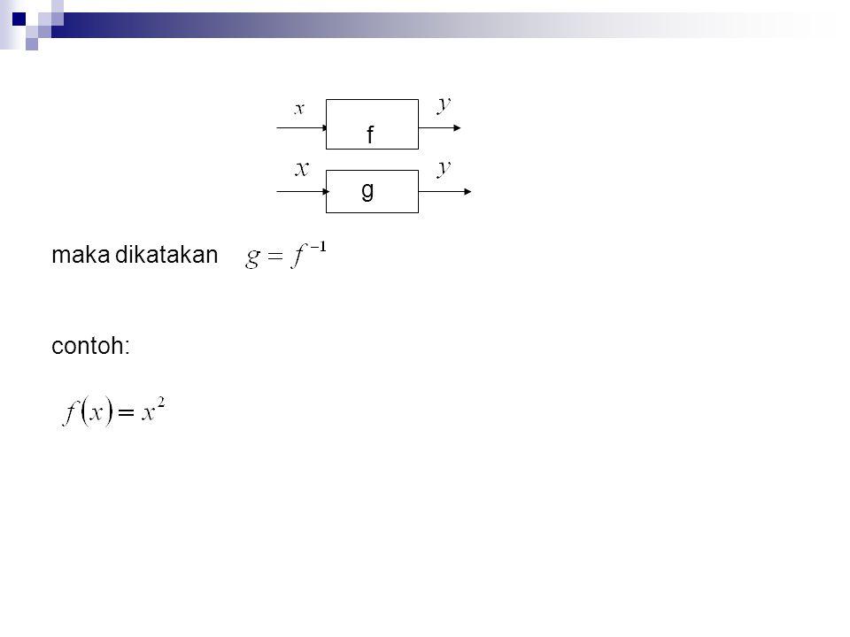 maka dikatakan contoh: f g