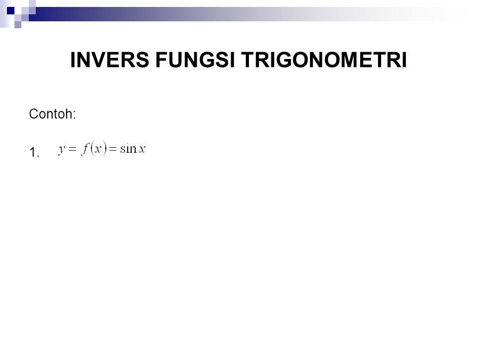 INVERS FUNGSI TRIGONOMETRI Contoh: 1.