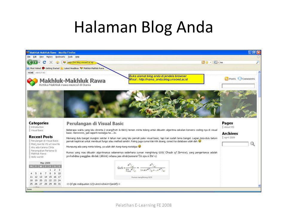 Halaman Blog Anda Pelatihan E-Learning FE 2008
