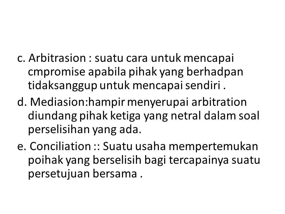 c. Arbitrasion : suatu cara untuk mencapai cmpromise apabila pihak yang berhadpan tidaksanggup untuk mencapai sendiri. d. Mediasion:hampir menyerupai