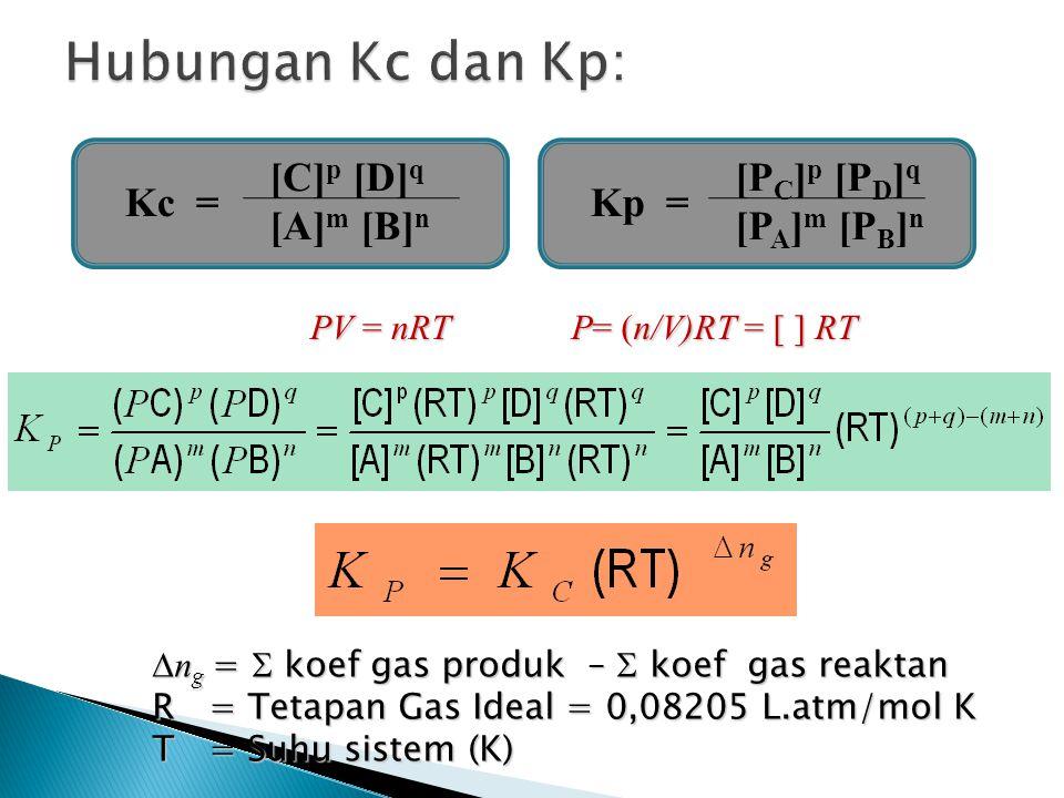 Kc = [C] p [D] q [A] m [B] n Kp = [P C ] p [P D ] q [P A ] m [P B ] n PV = nRT P= (n/V)RT = [ ] RT  n g =  koef gas produk –  koef gas reaktan R =