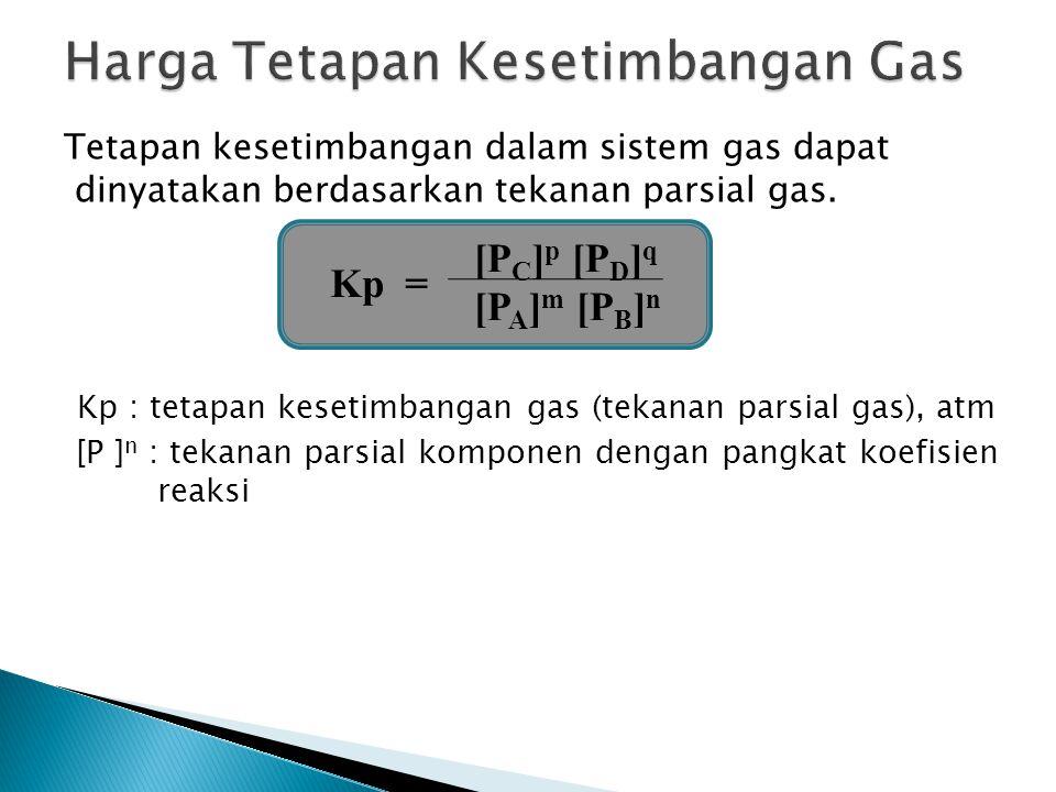 Tetapan kesetimbangan dalam sistem gas dapat dinyatakan berdasarkan tekanan parsial gas. Kp : tetapan kesetimbangan gas (tekanan parsial gas), atm [P