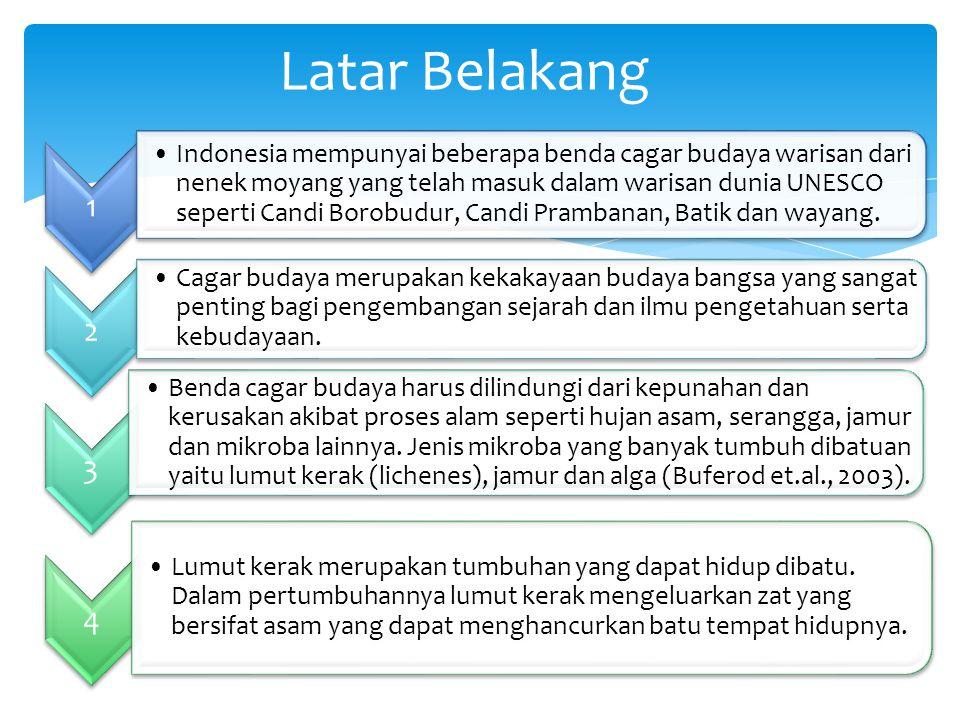 1 Indonesia mempunyai beberapa benda cagar budaya warisan dari nenek moyang yang telah masuk dalam warisan dunia UNESCO seperti Candi Borobudur, Candi