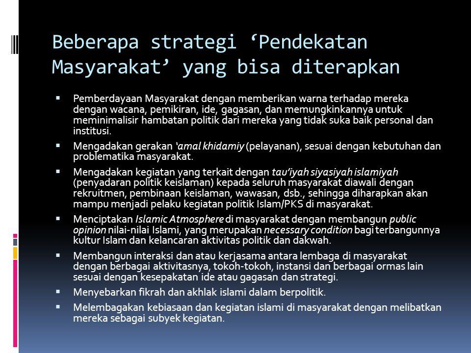 Beberapa strategi 'Pendekatan Masyarakat' yang bisa diterapkan  Pemberdayaan Masyarakat dengan memberikan warna terhadap mereka dengan wacana, pemiki