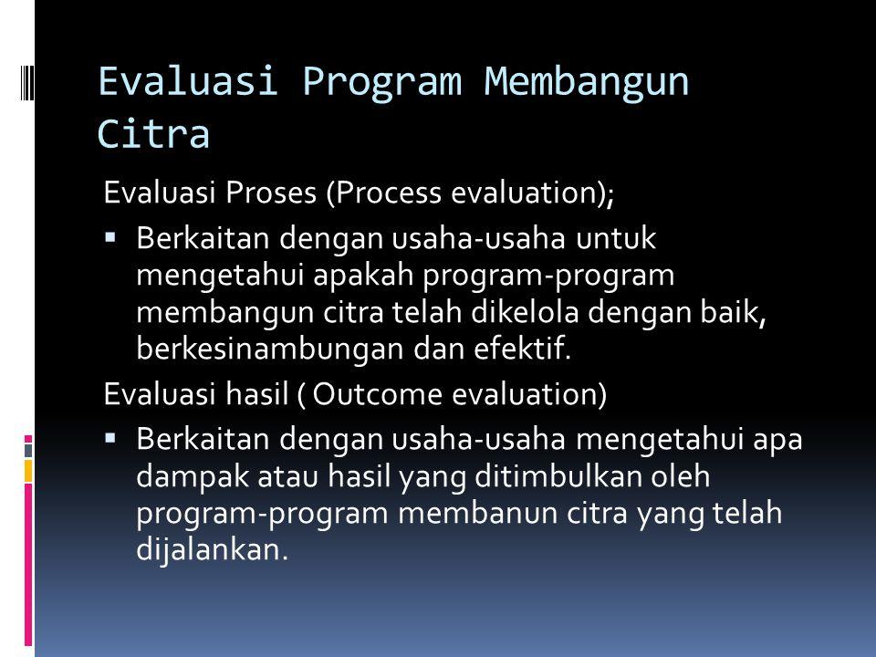 Evaluasi Program Membangun Citra Evaluasi Proses (Process evaluation);  Berkaitan dengan usaha-usaha untuk mengetahui apakah program-program membangun citra telah dikelola dengan baik, berkesinambungan dan efektif.