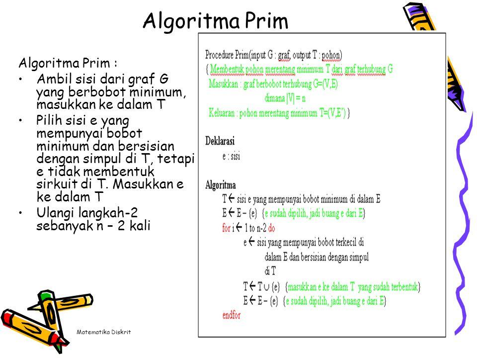 Matematika Diskrit9 Algoritma Prim Algoritma Prim : Ambil sisi dari graf G yang berbobot minimum, masukkan ke dalam T Pilih sisi e yang mempunyai bobo