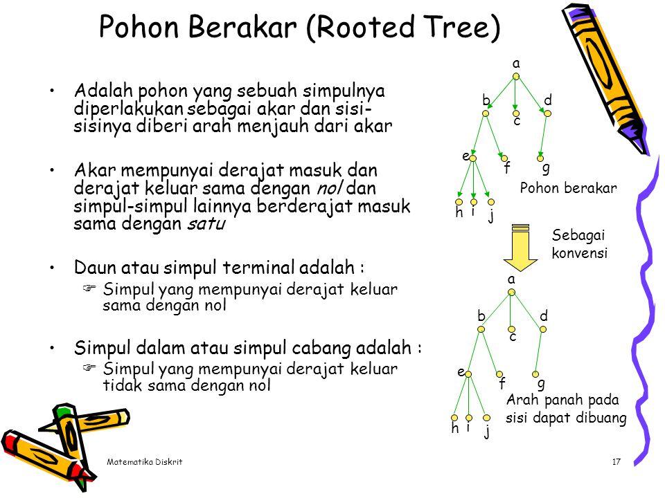 Matematika Diskrit17 Pohon Berakar (Rooted Tree) Adalah pohon yang sebuah simpulnya diperlakukan sebagai akar dan sisi- sisinya diberi arah menjauh da