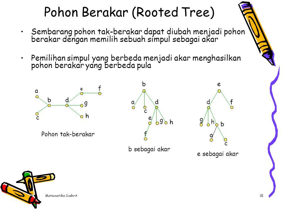 Matematika Diskrit18 Pohon Berakar (Rooted Tree) Sembarang pohon tak-berakar dapat diubah menjadi pohon berakar dengan memilih sebuah simpul sebagai a