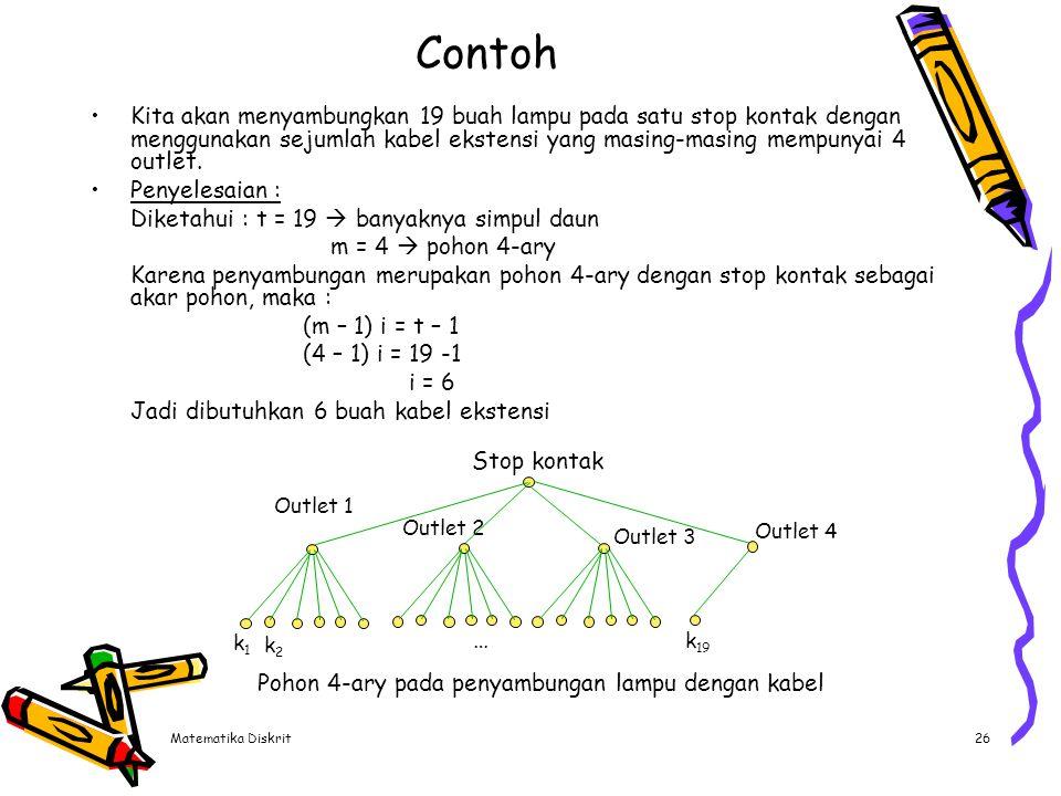 Matematika Diskrit26 Contoh Kita akan menyambungkan 19 buah lampu pada satu stop kontak dengan menggunakan sejumlah kabel ekstensi yang masing-masing