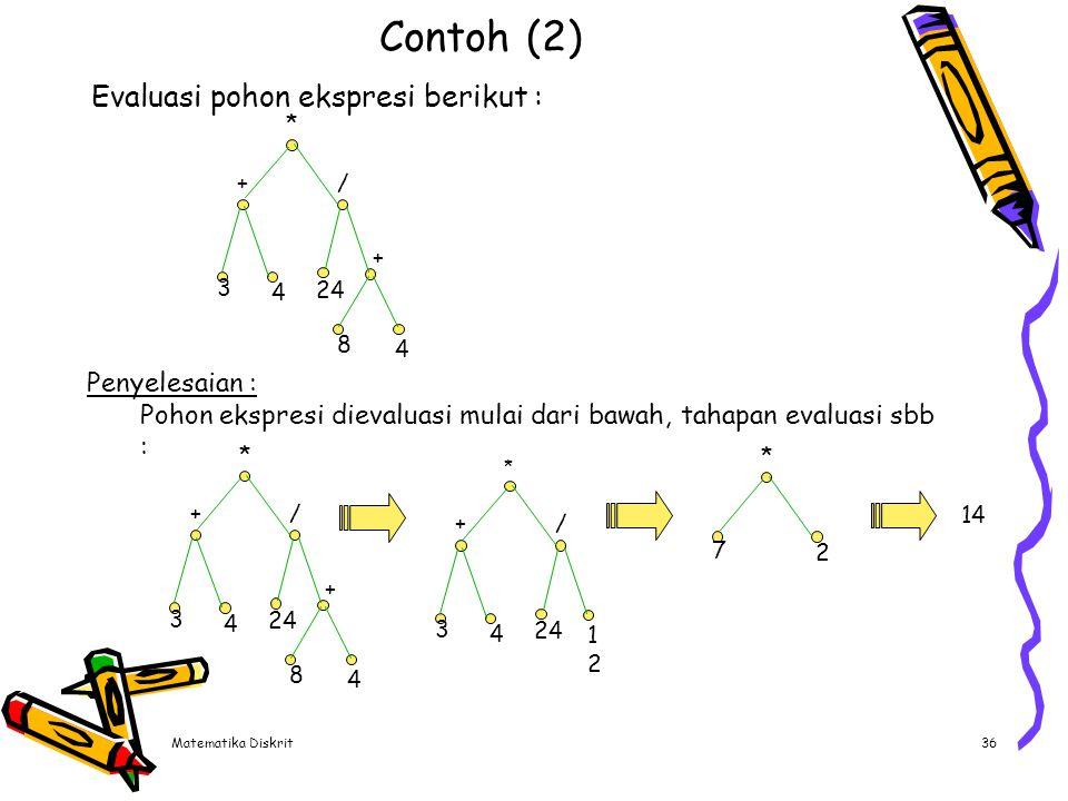 Matematika Diskrit36 Contoh (2) Evaluasi pohon ekspresi berikut : Penyelesaian : Pohon ekspresi dievaluasi mulai dari bawah, tahapan evaluasi sbb : *