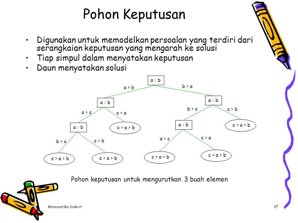 Matematika Diskrit37 Pohon Keputusan Digunakan untuk memodelkan persoalan yang terdiri dari serangkaian keputusan yang mengarah ke solusi Tiap simpul