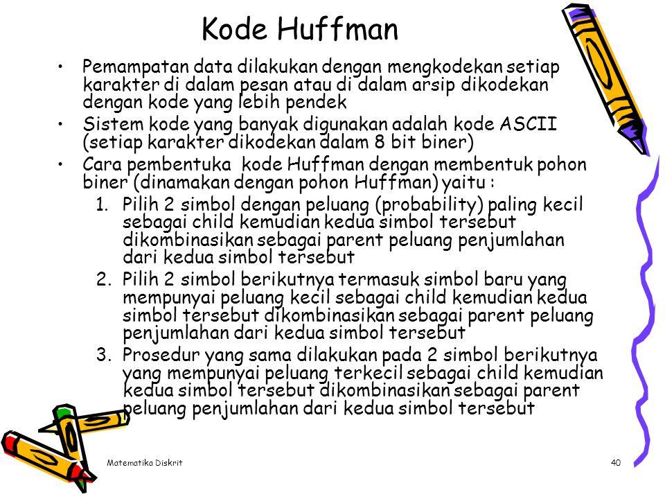 Matematika Diskrit40 Kode Huffman Pemampatan data dilakukan dengan mengkodekan setiap karakter di dalam pesan atau di dalam arsip dikodekan dengan kod