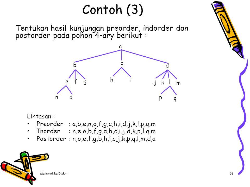 Matematika Diskrit52 Contoh (3) Tentukan hasil kunjungan preorder, indorder dan postorder pada pohon 4-ary berikut : Lintasan : Preorder : a,b,e,n,o,f