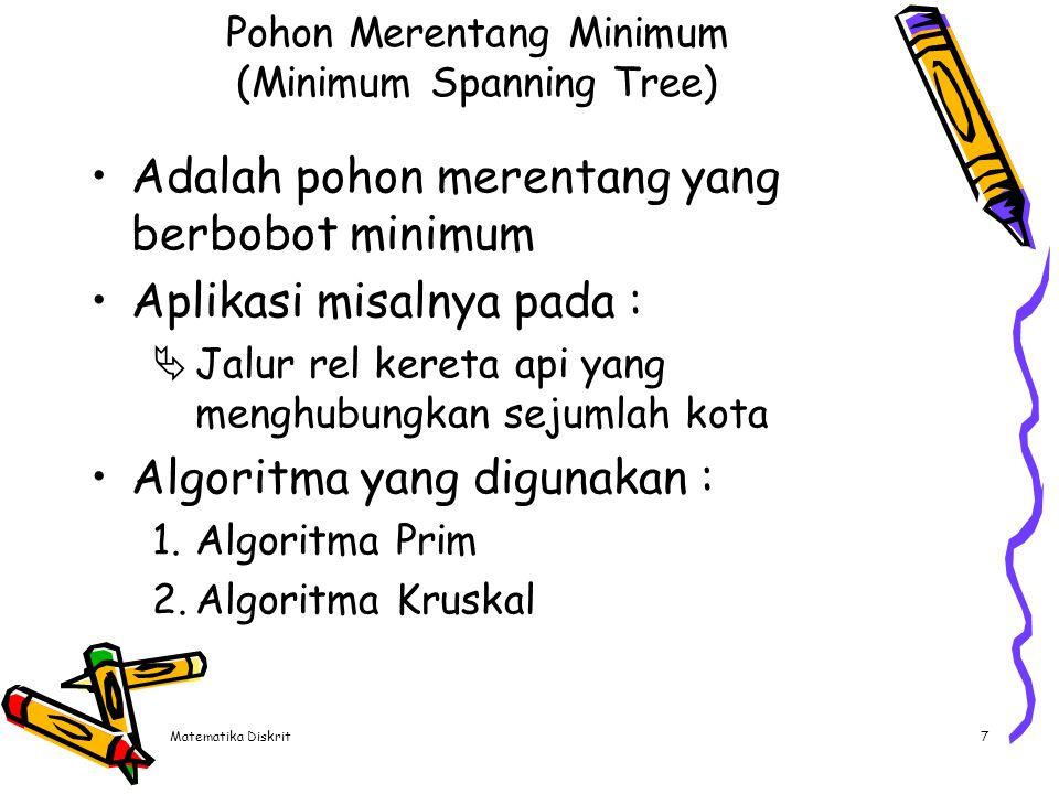 Matematika Diskrit7 Pohon Merentang Minimum (Minimum Spanning Tree) Adalah pohon merentang yang berbobot minimum Aplikasi misalnya pada :  Jalur rel