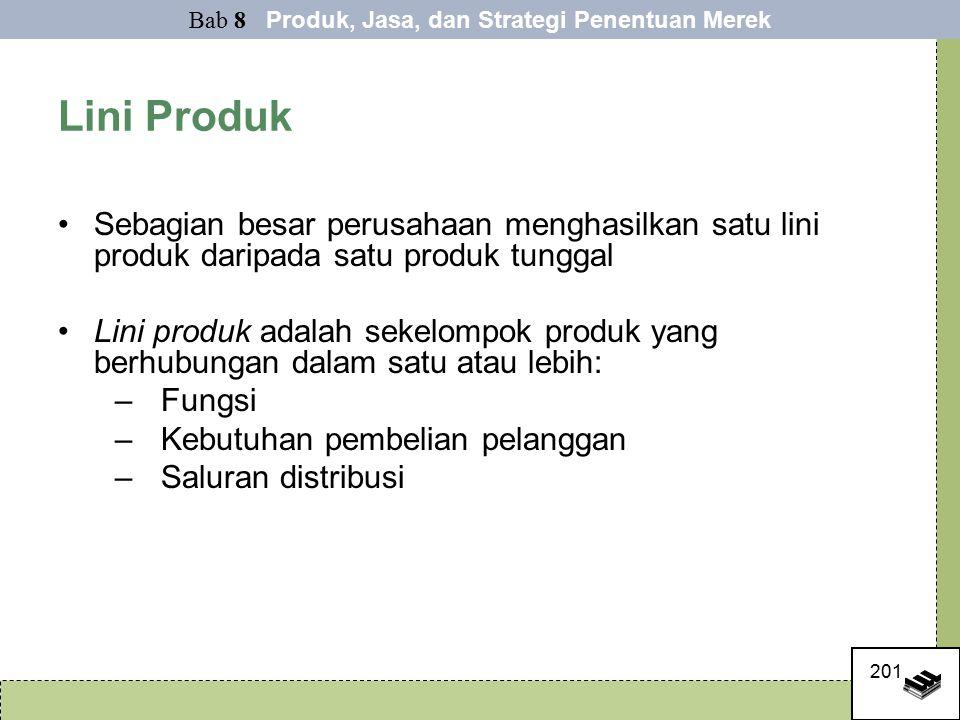 201 Lini Produk Sebagian besar perusahaan menghasilkan satu lini produk daripada satu produk tunggal Lini produk adalah sekelompok produk yang berhubungan dalam satu atau lebih: –Fungsi –Kebutuhan pembelian pelanggan –Saluran distribusi Bab 8 Produk, Jasa, dan Strategi Penentuan Merek