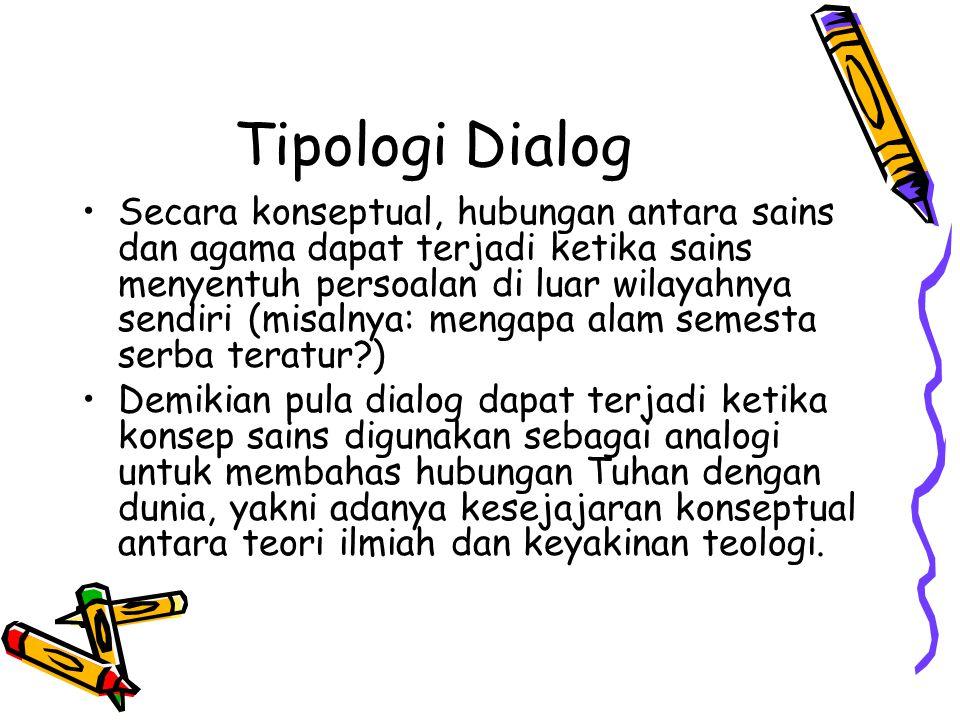 Tipologi Dialog Secara konseptual, hubungan antara sains dan agama dapat terjadi ketika sains menyentuh persoalan di luar wilayahnya sendiri (misalnya