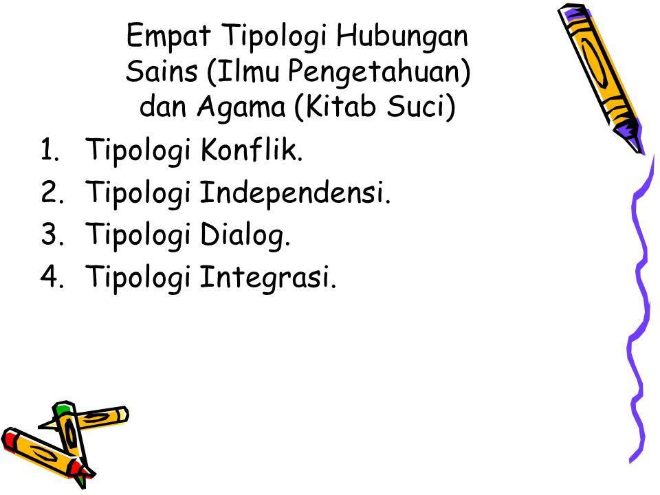 Empat Tipologi Hubungan Sains (Ilmu Pengetahuan) dan Agama (Kitab Suci) 1.Tipologi Konflik. 2.Tipologi Independensi. 3.Tipologi Dialog. 4.Tipologi Int