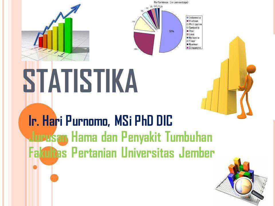 STATISTIKA Ir. Hari Purnomo, MSi PhD DIC Jurusan Hama dan Penyakit Tumbuhan Fakultas Pertanian Universitas Jember