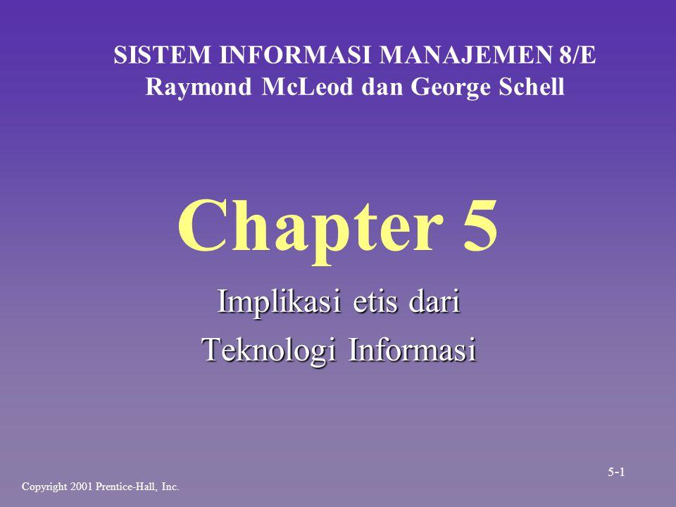 Chapter 5 Implikasi etis dari Teknologi Informasi SISTEM INFORMASI MANAJEMEN 8/E Raymond McLeod dan George Schell Copyright 2001 Prentice-Hall, Inc. 5