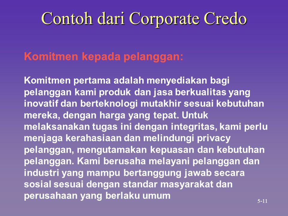 Contoh dari Corporate Credo Komitmen kepada pelanggan: Komitmen pertama adalah menyediakan bagi pelanggan kami produk dan jasa berkualitas yang inovatif dan berteknologi mutakhir sesuai kebutuhan mereka, dengan harga yang tepat.